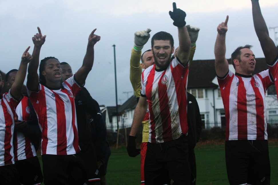 CCFC players celebrate win over The Curve